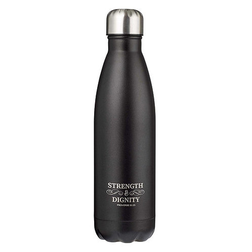 Strength & Dignity Water Bottle (Black & Silver)