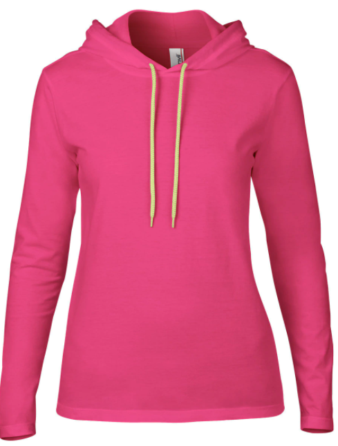 Anvil Pink Hooded Long Sleeve Shirt - Size Ladies L