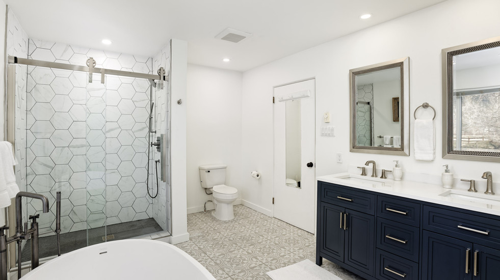 Newly remodeled master bathroom with soaker tub and walk-in shower