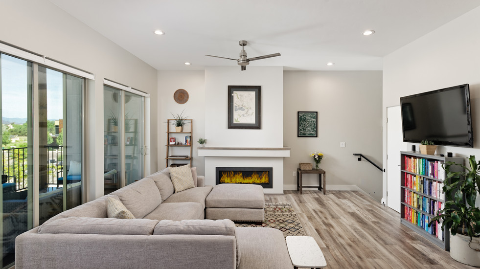 Cozy up in your bright open-concept living/dining room/kitchen