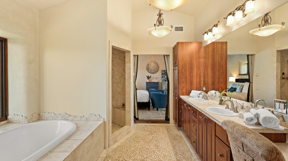 Master bathroom with soaking tub + picture window and seperate shower