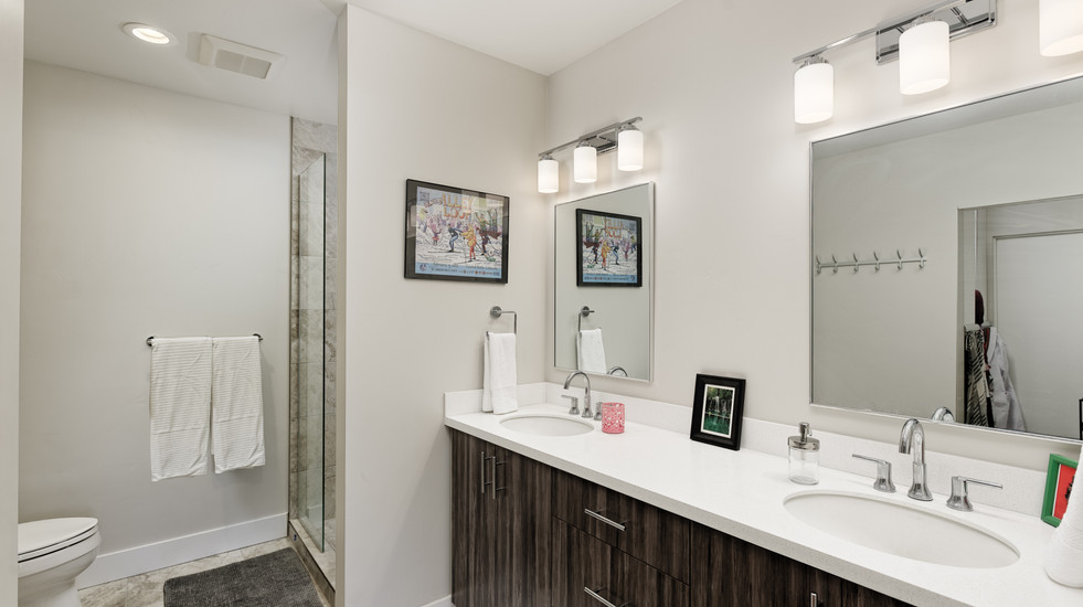 Double-sink master with walk-in closet and glass shower