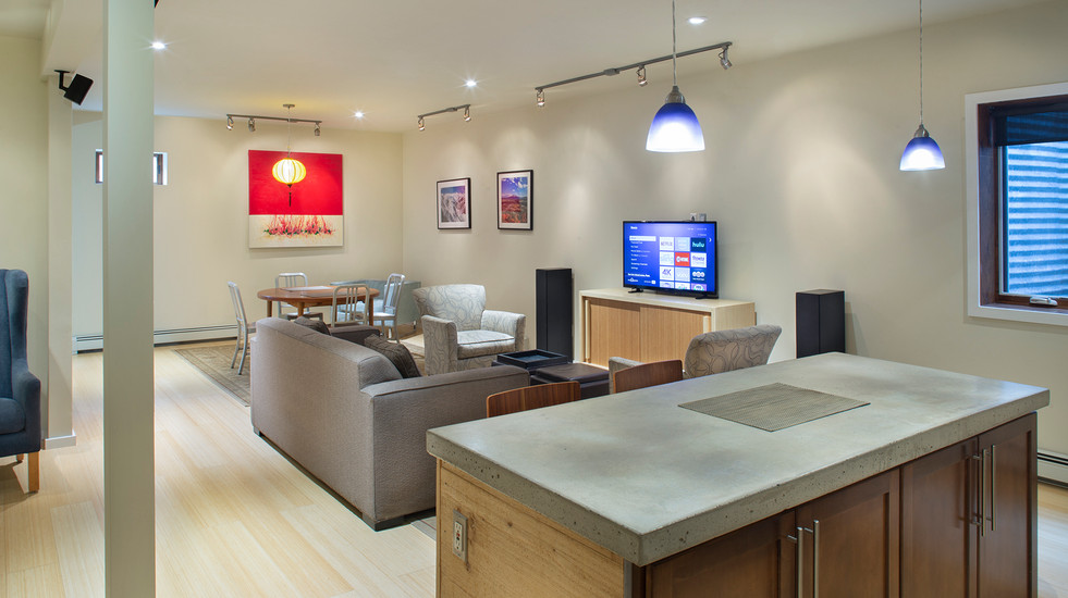 Spacious, open-concept kitchen/living/dining room