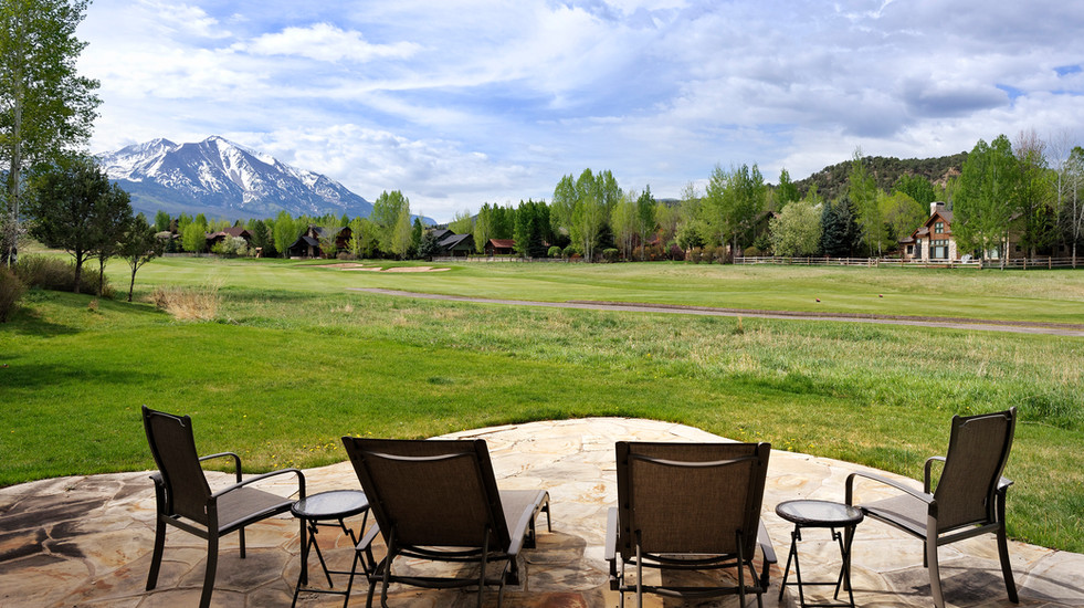 Deck off of the living room with views of Mount Sopris