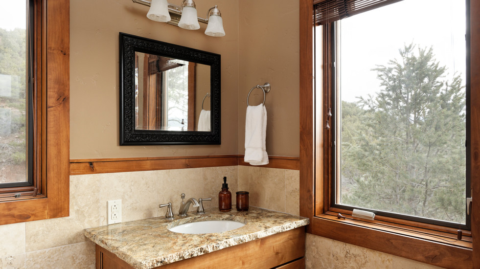 Master bathroom with jet tub and shower.