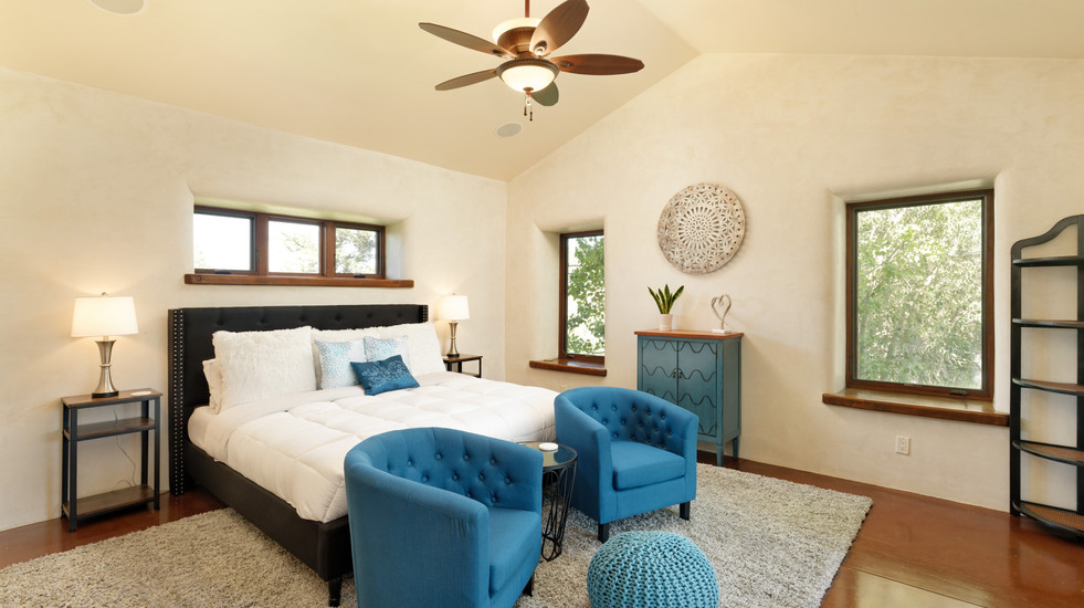 Master bedroom with views of the patio and Mount Sopris