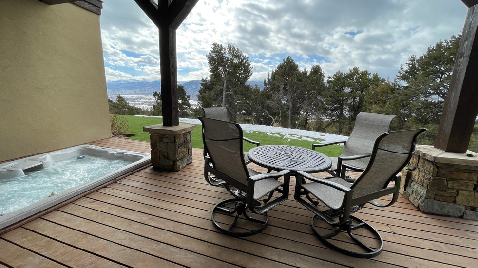 Hot tub and lower outdoor seating area