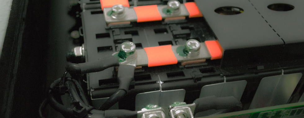 Close up of Lithium Ion Battery Bank Interior
