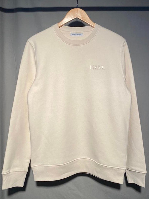 BY11 Organic Cotton Embroidered Crewneck Sweatshirt - Natural