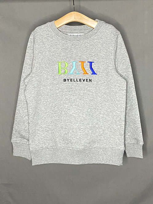 Little BY11 Kids Organic Embroidered Logo Sweatshirt  - Grey Multi