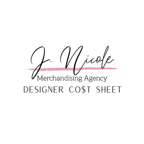 Designer Cost Sheets Excel