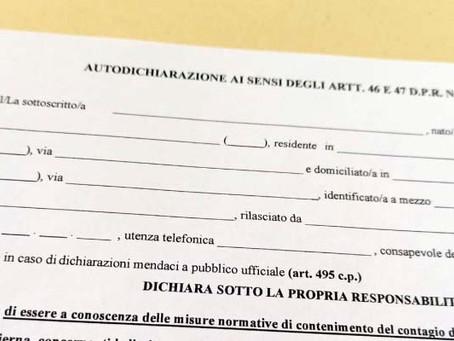 Nuovo DPCM. Torna autocertificazione in tutta Italia dalle 22 alle 5, sempre su fasce arancio/rosse