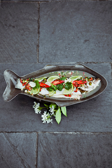 Steamed Sea Bass with chilli, lime & Cor