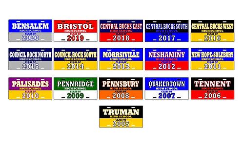 """CLASS OF"" Bucks County License Plates"