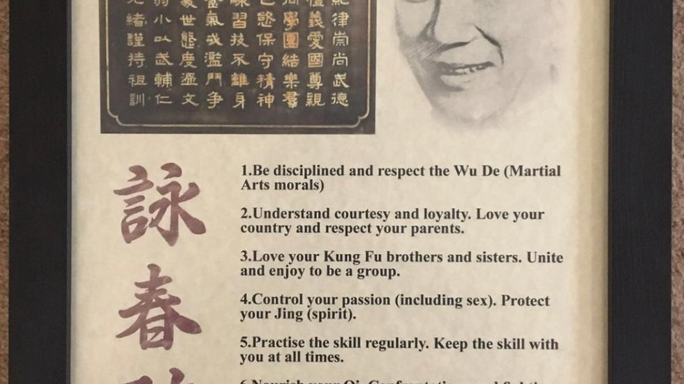 Ip Man Ancestor Rules Framed Picture Size A3