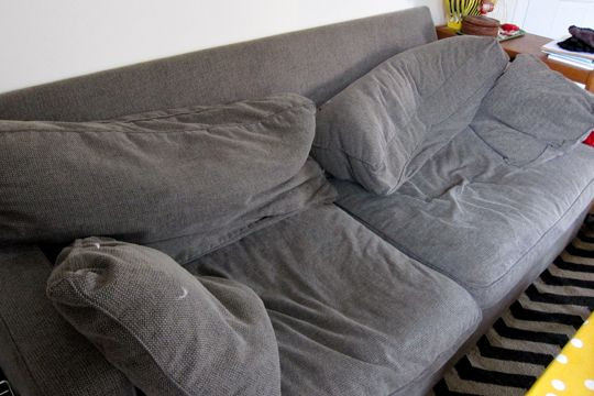 Smushed crumpled sofa butt hole