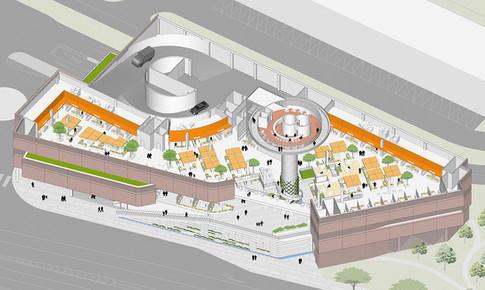 [가락몰물류센터]  Garak mall distribution center  Client: Seoul Metropolitan Government Program: distribution center, Market places  Scale: 9,830 sqm  co-work: SNH architects   Status: competition entry