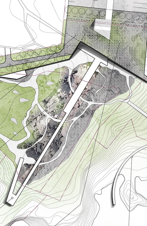 International competition :Landscape of Columnar Jointing Area, Jeju  Client: Jeju city   Program: Park, Museum, Club, Community Facilities  Scale: 52,315 sqm  Co-work: Haeahn Landscape   Status: competition entry