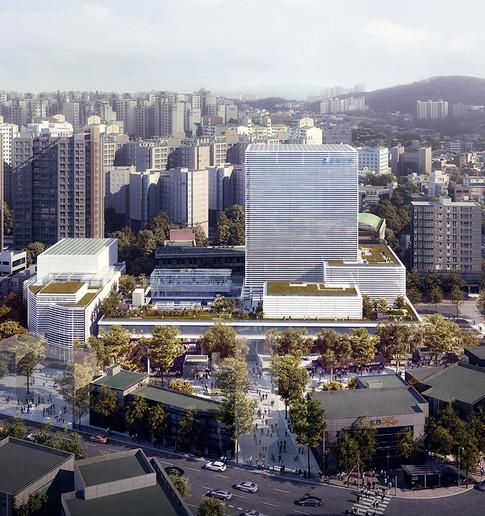 [동작구 행정타운] Public administration Complex, Dongjak  Client:  Seoul Metropolitan Government    Program: Goverment Office, Marketplace, Community Facilities  Scale: 49,224 sqm  Status: competition 3rd prize