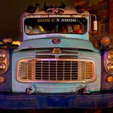 "The ""Dios es Amor"" Bus on Main Street"
