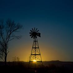 Rising Moon and Windmill