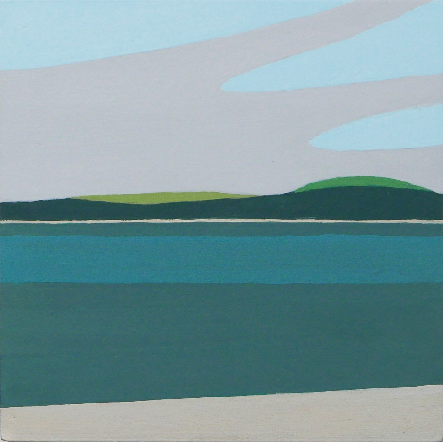 Solent 1, gouache on gesso panel, 125 X 125mm