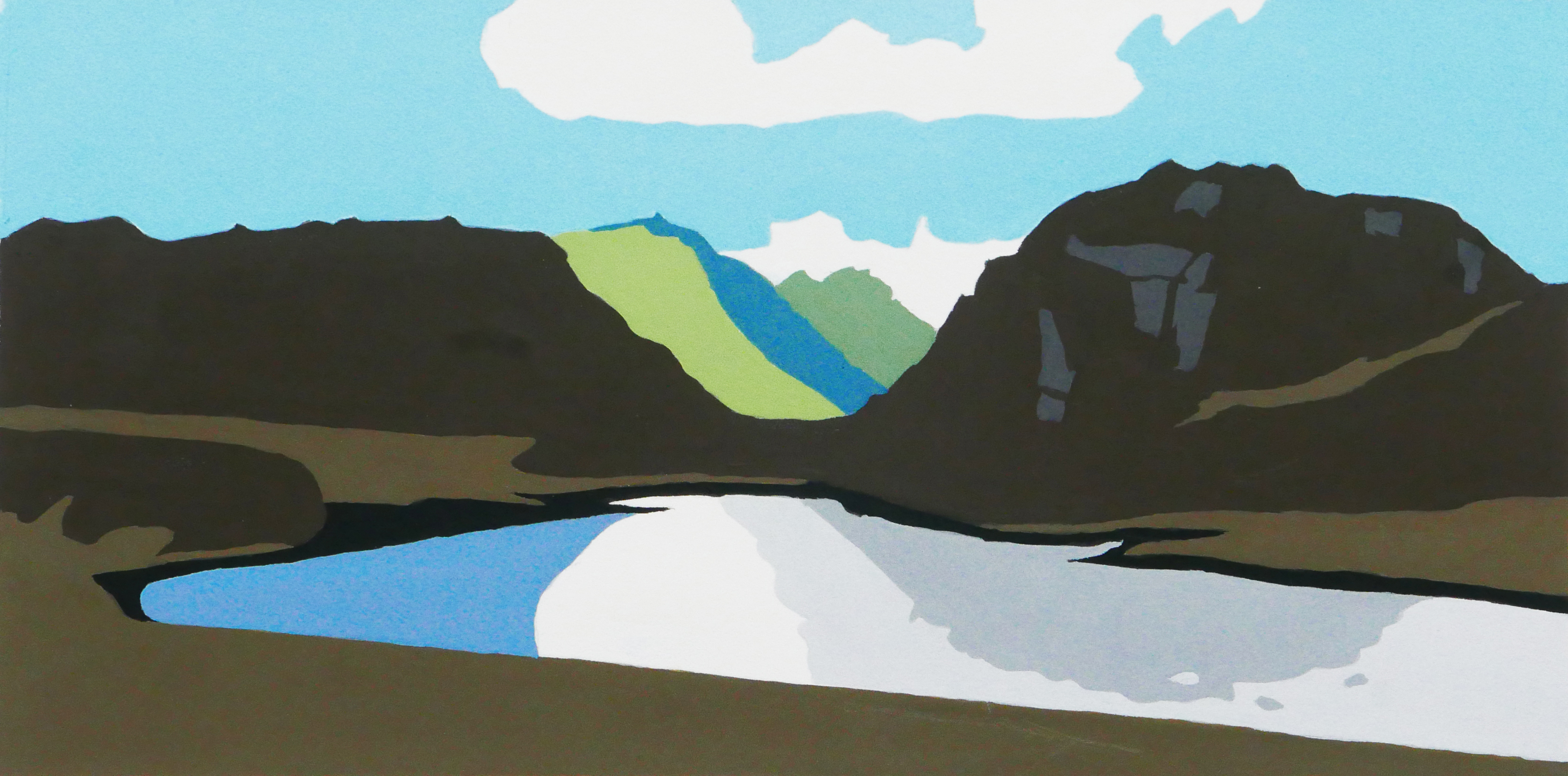The hidden lakes, gouache on paper, 260 X 130mm
