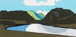 The hidden lakes, gouache on paper, 260 X 130mm
