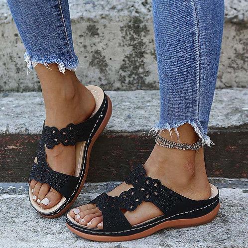 Black Soft Bottom Wedge Flip Flops