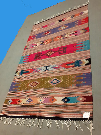 Mexican Zapotec Woven Rug from Oaxaca