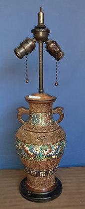 Chinese Enameled Bronze Vase Lamp