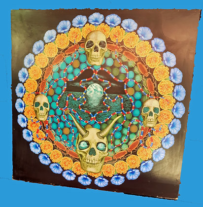 Mandala, Skulls & Cockroaches, Hand painting
