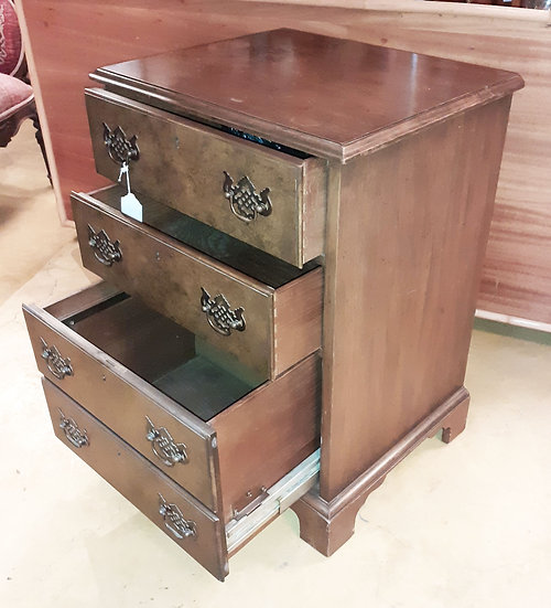 Dark Wood File Cabinet, Chippendale Pulls, Executive Office