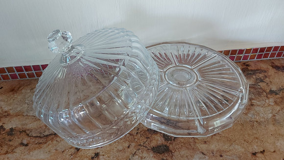"""Lead Crystal Cake Stand, 12"""" wide, 13"""" tall"""