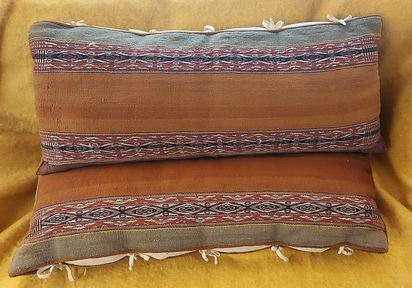 Feather Pillows by Andrew Morgan, Peruvian Hand Woven Fabric,