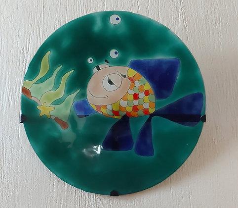 """Enameled Glass Plate for Hanging, 12"""" diameter"""