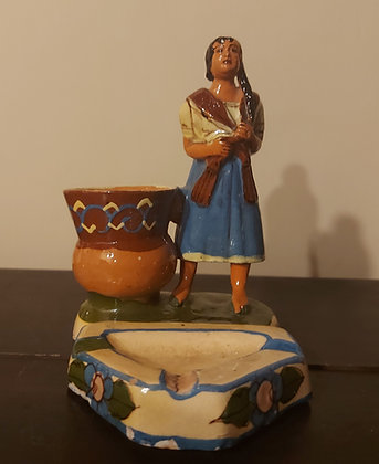 Figural Ashtray & Match Holder, Woman w/ Rebozo,  Mexican
