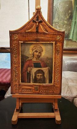 Antique Religious Frame, Fired Clay,  Recuerdo de Jalisco
