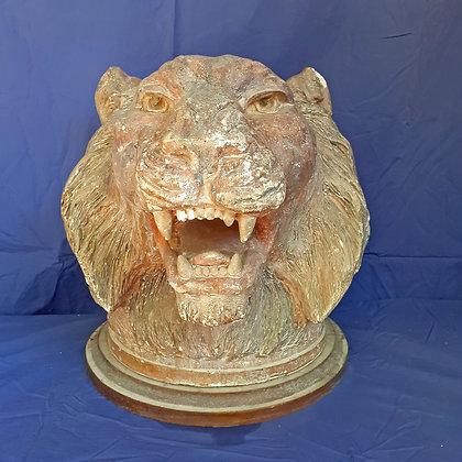 "Lion's Head Sculpture by Erwin Winterhalder, 16"" tall"
