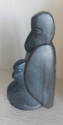 """Inuit Soapstone Carving,  11"""" tall, Signed Anmamavura"""