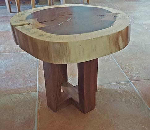 "Small Wood Table, Slice of Tree, 22"" diameter, 18"" tall"