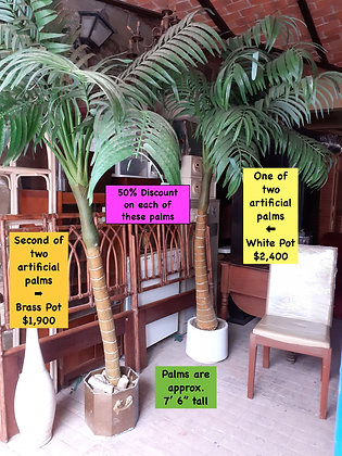 """2 Artificial Palms,  7' 6"""" tall,  potted,  Priced Separately"""