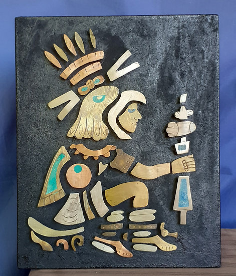 Mexican Metal Aztec Warrior Artwork