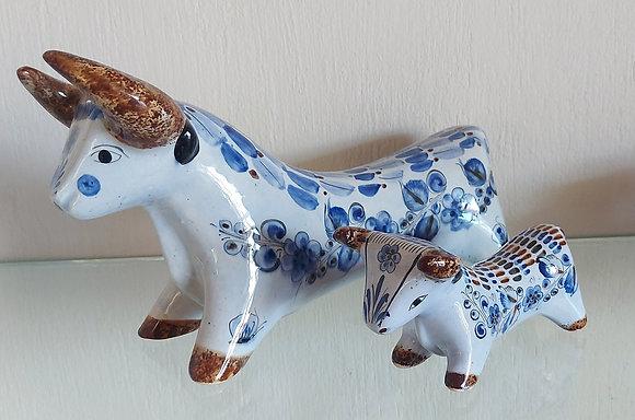 2 Tlaquepaque Pottery Figures of Bulls, Signed CAT