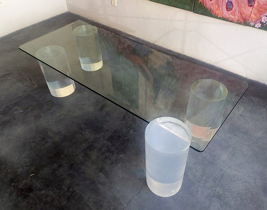 """Thick Glass Cocktail Table w/ Lucite Legs,   60"""" x 24"""", 14"""" tall"""