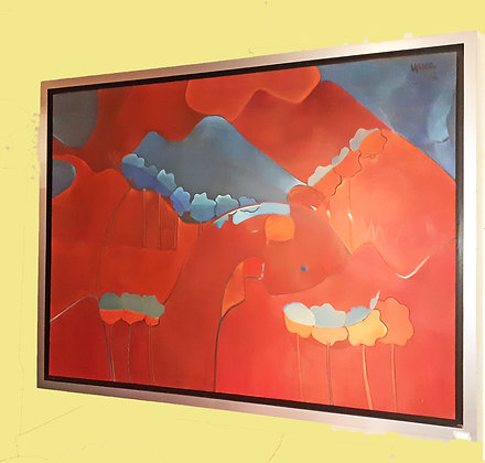 Huge Original Mexican Abstract Oil Painting by Urrea, 2012