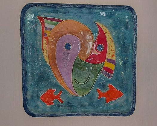 Enameled Clay Plate,Sergio Cuevas, San Juan Cosala, AS-IS