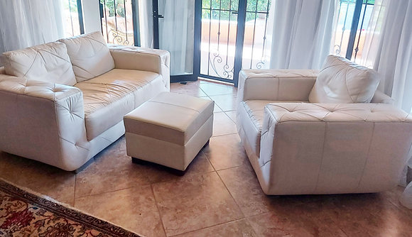 Contemporary Comfy Chair and Footstool, Leather and Vinyl