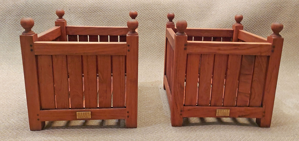 """2 Teak Planter Stands (Of Many Uses), 17.5"""" Square, Refinished"""