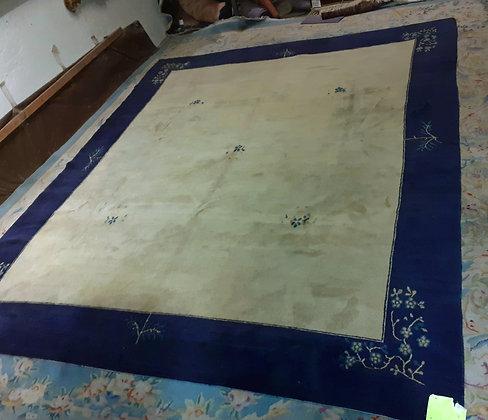 Tibetan Rug in Chinese Design, Blue & Cream
